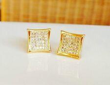 Mens & Ladies 18K Gold Finish 0.5 ct. Lab Diamond Screw Back Stud Earrings 8mm