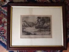 Elegant Antique Oak Picture Frame with original etching-The Art Journal#3313