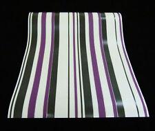 9602-09-4) 6 Rollen edle Vinyltapeten gestreift schwarz weiß lila silber