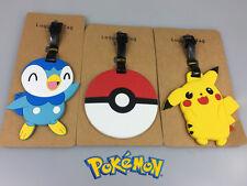 3Pcs Pokemon Pikachu Poke Ball Luggage Tag Name Bag Card Holder Travel Suitcase