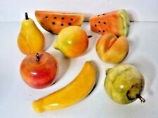 Alabaster Carved Fruit Apple Peach Pear Lime Watermelon Complete Fruit Bowl
