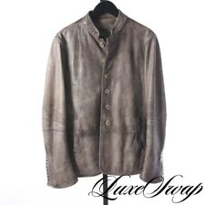 John Varvatos Antiqued Taupe Grey Distressed Lambskin Leather Gothic Coat 48 HOT