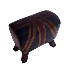Design Fußhocker Buck Union Jack Vintage Leder Sprungbock Vintage Cigar Hocker