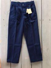 NEW Lands End Boys 8 Pleat Front Navy Blue School Uniform Long Pants Chinos