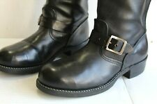 Vintage Engineer Black Leather Steel Toe Biker Buckle Men's Boots, Size 8.5 USA