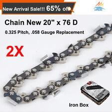 """2X PREMIUM Chainsaw Chains 325 058 76DL for Baumr-Ag SX62 for 20"""" bar Iron Box"""