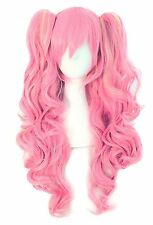 MapofBeauty Multi-color Lolita Long Curly Clip on Ponytails Cosplay Wig (Pink...