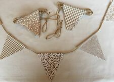 Tessuto Bunting-Oro Beige Vintage Shabby Chic Rustico Stringa dettaglio 6ft