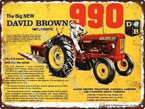 """1963 New David Brown 990 Implematic tractor Farming Farm Metal Sign 9x12"""" A367"""