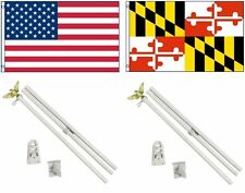 3x5 Usa American & State of Maryland Flag & 2 White Pole Kit Sets 3'x5'
