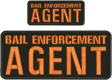 BAIL ENFORCEMENT AGENT EMBROIDERY PATCH 4X10 AND 2X5 hook on back blk/orange