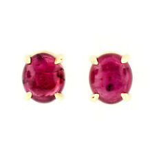 14k Yellow Gold 1.74ctw GIA Certified Oval Cabochon Ruby Petite Stud Earrings