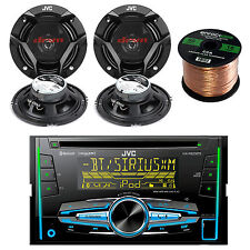 "Double Din Bluetooth JVC USB Radio, 6.5"" JVC Car Speakers and 50FT Speaker Wire"