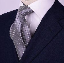 "Mens Grey Skinny Tie Contrast Diamond Studs 3"" Geometric Woven Luxury Fashion A+"