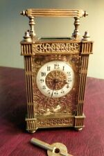 Antique FRENCH Gilt Carriage Clock / Timepiece ~ 8 Day with Key ~ Fully Serviced