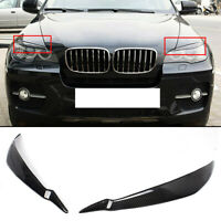 FOR 2008-2014 BMW E71 X6 X6M REAL CARBON FIBER HEADLIGHT EYE LID COVER