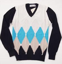 NWT $695 BALLANTYNE Diamond Intarsia Cotton-Cashmere Sweater S (Eu 46) Turquoise
