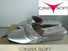 """CINZIA SOFT  """"BELLISSIMA PANTOFOLA DONNA IN PELLE  COL. ARGENTO  N° 36 NUOVO"""""""
