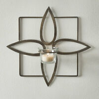 OLIVIA candle Wall Sconce in antiqued brass finish