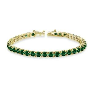 Round-cut 4mm Simulated Emerald Tennis Bracelet in Gold Plated Sterling Silver