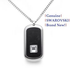 Swarovski Men's EFFECT PENDANT NECKLACE Black with Clear Crystal New in Gift Box