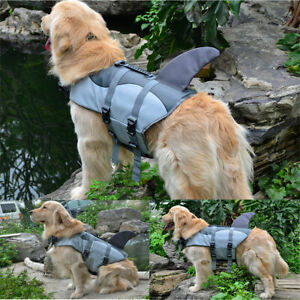Pet Dog Life Jacket Shark Safety Vest Swimming Float Adjustable Saver
