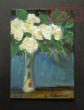 Original ACEO PAINTING Signed Fine Art Cathy Peterson ROSES A MOMENT DIVINE 2014