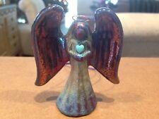 Spirit Angel medium Raku Pottery w/gemstone heart by artist Jeremy Diller - NEW