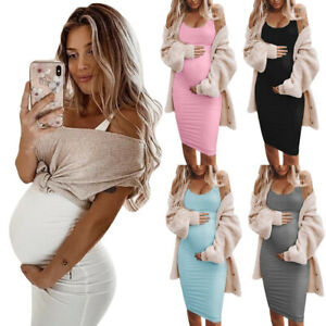 Womens Pregnancy Maternity Bodycon V Neck Sling Mini Dress Summer Party Casual