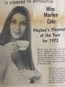 1973 Playboy Playmate of Year Marilyn Cole - Morris Motors Newsprint Ad 8-1/2x14