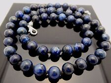 """Vintage Natural Blue Lapis Lazuli 8mm Round Knotted Silver Tone Necklace 19.5"""""""