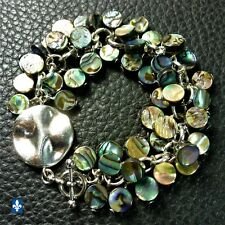 ❤ Stunning All Multicolor Abalone Shell Plated Silver Bracelet