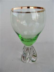 Vintage Retro Scandinavian Green & gold rim Art glass foot Wine / cocktail Glass