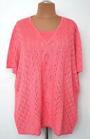 NEU Übergröße schicker Damen Kurzarm Pullover rosa in Doppeloptik Gr.62