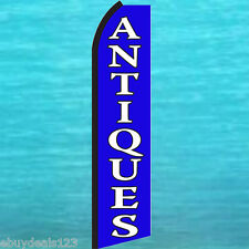 ANTIQUES Blue FLUTTER FEATHER FLAG Swooper Vertical Advertising Sign Bow Banner