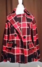 American Eagle Plaid Wool Pea Coat Women's Size M Insulated Red Navy Blue EUC!*!
