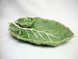 Vintage Portugal Majolica Serving Tray Platter Green Cabbage Leaf Dish Mint 11 ¼