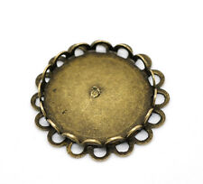 100 Supports Cabochons Rond Bordure ornementale Bronze 25mm(Pr 20mm)