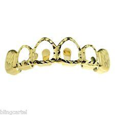 Diamond-Cut Grillz 14k Gold Plated Upper Top Teeth 4 Open Face Hip Hop Grills