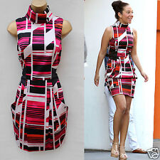 Karen Millen Celebrity Black Red Fun Graphic Stripe Print Dress S-12 Tulisa Amy