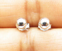925 Sterling Silver - Petite Shiny Smooth Sphere Stud Earrings - E6159