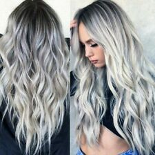 New Style Women Gradient Grey Long Curly Wavy Heat Resistant Synthetic Fiber Wig