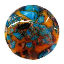 Coin Sea Sediment Jasper & Turquoise Pendant Bead 40*40*6mm M245