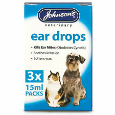 Johnsons Ear Drops For Cats & Dogs - Kills Ear Mites Wax Softener Pet Care