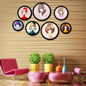 """5""""-10"""" Round Photo Frame Wooden Hanging Picture Holder Bedroom Decoration Newly"""