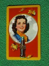 Coca-Cola Pretty Girl & Autumn Leaves Circa 1943 Vintage Original Swap Card Fine