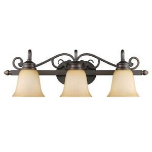 Golden Lighting Belle Meade Collection 3-Light Rubbed Bronze Bath Vanity Light