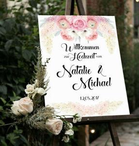 Hochzeitsschild, Flieder, Rosen, Hochzeitsdeko, Personalisiert, Willkommen