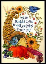 Thanksgiving Cornucopia Blue Birds Pumpkin Corn Flowers Squash - Greeting Card