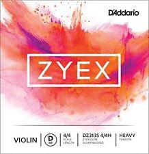 D'Addario Zyex Violin Single Silver D String, 4/4 Scale, Heavy Tension